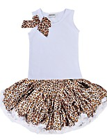 cheap -Girls' Daily Holiday Leopard Clothing Set, Cotton Polyester Summer Sleeveless Cute White