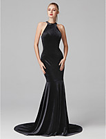 cheap -Mermaid / Trumpet Jewel Neck Court Train Velvet Prom / Formal Evening Dress with Pleats by TS Couture®