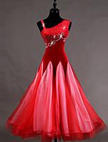 abordables -Danse de Salon Robes Femme Entraînement Velours Velours Côtelé Georgette Cristaux/Stras Sans Manches Taille haute Robe