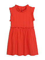 cheap -Girl's Daily Solid Dress, Cotton Polyester Spring Summer Sleeveless Simple Active Orange