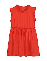 preiswerte -Mädchen Kleid Alltag Solide Baumwolle Polyester Frühling Sommer Ärmellos Einfach Aktiv Orange