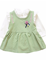 cheap -Girls' Daily Solid Clothing Set, Polyester Spring Long Sleeves Simple Blushing Pink Yellow Light Green