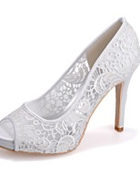 cheap -Women's Shoes Lace Spring Summer Basic Pump Wedding Shoes Stiletto Heel Peep Toe Stitching Lace for Wedding Party & Evening White Black