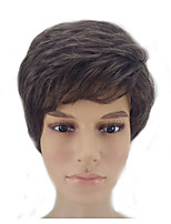 cheap -Synthetic Wig Straight Layered Haircut Natural Hairline Brown Men's Capless Natural Wigs Short Synthetic Hair
