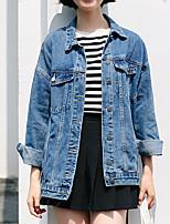 baratos -Mulheres Jaqueta jeans Vintage-Sólido Pregueado