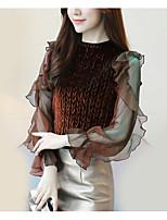 baratos -blusa de poliéster feminina - sólida