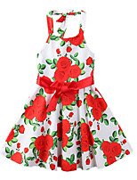 cheap -Girl's Party Going out Floral Print Dress, Polyester Summer Sleeveless Cute Boho Red