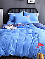 cheap -Duvet Cover Sets Stripes/Ripples 3 Piece Poly/Cotton Reactive Print Poly/Cotton 1pc Duvet Cover 1pc Sham 1pc Flat Sheet