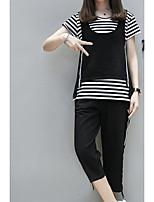 abordables -Mujer Básico Blusa - Un Color A Rayas, Estampado Pantalón