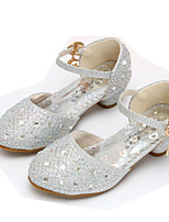 cheap -Girls' Shoes Sparkling Glitter Spring Fall Flower Girl Shoes Comfort Heels Rhinestone Buckle for Wedding Dress Gold Silver Pink
