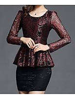 cheap -Women's Basic Puff Sleeve T-shirt - Geometric, Print