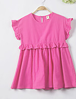cheap -Girl's Daily Solid Dress, Cotton Summer Short Sleeves Simple Fuchsia