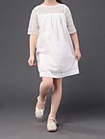 abordables -Robe Fille de Quotidien Sortie Couleur Pleine Coton Acrylique Printemps Eté Demi Manches simple Rétro Blanc