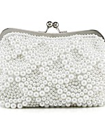 cheap -Women's Bags Silk Evening Bag 2 Pieces Purse Set Pearl Detailing for Event/Party All Seasons White
