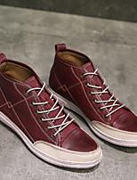 Недорогие -Муж. обувь Наппа Leather Весна Осень Удобная обувь Кеды для Повседневные на открытом воздухе Черный Винный