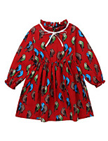 cheap -Girl's Daily Floral Dress, Polyester Spring Long Sleeves Vintage Navy Blue Wine