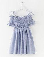 cheap -Girl's Solid Dress Summer Simple Blue Light Blue