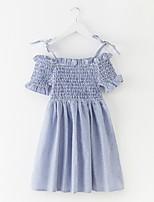 Недорогие -Девичий Платье Однотонный Лето Простой Синий Светло-синий
