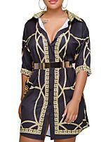 abordables -Femme Grandes Tailles Mince Chemise Robe - Basique, Géométrique Col de Chemise Mini