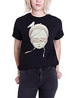preiswerte -Damen Porträt - Aktiv Ausgehen Baumwolle T-shirt