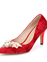 cheap -Women's Shoes Glitter Velvet Spring Fall Comfort Heels Stiletto Heel Pointed Toe Rhinestone for Wedding Party & Evening White Black Red