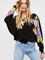 cheap -Women's Going out Vintage Loose Blouse - Floral