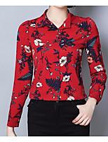 cheap -Women's Active Basic Butterfly Sleeve Cotton Slim Shirt - Floral Shirt Collar