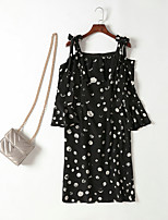 cheap -MMLJ Women's Street chic Flare Sleeve Loose Dress - Polka Dot, Ruffle