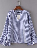 cheap -Women's Vintage Shirt - Geometric V Neck