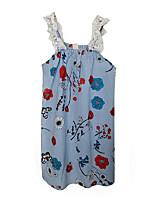abordables -Robe Fille de Fleur Polyester Eté Sans Manches simple Bleu clair