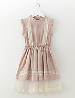 cheap -Girl's Daily Going out Solid Dress, Cotton Linen Spring Summer Sleeveless Simple Cute Blushing Pink