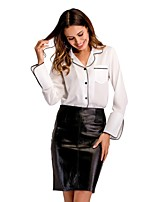 cheap -Women's Work Flare Sleeve Loose Blouse - Solid Shirt Collar