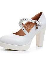 cheap -Women's Shoes Microfibre Spring Fall Basic Pump Heels Chunky Heel Pointed Toe Rhinestone Buckle for Casual Party & Evening White Black