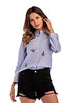 cheap -Women's Work Shirt - Striped, Embroidered Shirt Collar