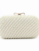 cheap -Women's Bags ABS+PC Evening Bag Beading Bow(s) Pearl Detailing for Event/Party Outdoor All Seasons Beige