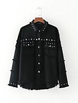 cheap -Women's Denim Jacket - Solid, Oversized