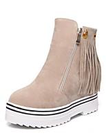 preiswerte -Damen Schuhe Kunstleder Winter Modische Stiefel Stiefel Creepers Runde Zehe Booties / Stiefeletten Quaste für Party & Festivität Schwarz