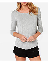 cheap -Women's Chic & Modern Cotton T-shirt - Solid Colored