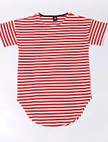 baratos -Homens Mulheres Camiseta Activo Listrado Decote Redondo