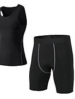 abordables -Homme Activewear Set Sans Manches / Pantalon court Respirabilité Ensemble de Vêtements pour Fitness Polyester Bleu / Rouge / Blanc / Gris