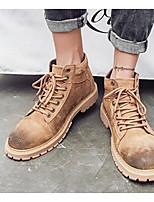 cheap -Men's Shoes Pigskin Winter Fall Combat Boots Comfort Boots for Casual Black Dark Grey Khaki