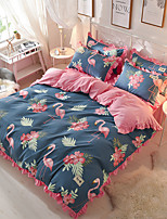 cheap -Duvet Cover Sets Floral Contemporary 4 Piece Polyster Reactive Print Polyster 1pc Duvet Cover 2pcs Shams 1pc Flat Sheet