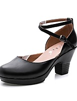 cheap -Women's Shoes Microfibre Spring Fall Basic Pump Heels Chunky Heel Round Toe Buckle for Casual Outdoor Gold Black Silver