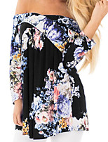 abordables -Tee-shirt Femme,Fleur Imprimé Basique