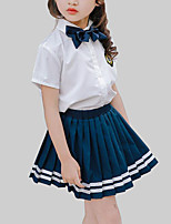 cheap -Girls' Daily School Striped Clothing Set, Rayon Summer Short Sleeves Casual Blue