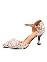 cheap -Women's Shoes PU Spring Fall Comfort Heels Stiletto Heel for Outdoor Gold Beige