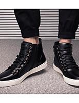 preiswerte -Herrn Schuhe Leder Frühling Herbst Komfort Sneakers für Normal Draussen Schwarz