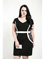 cheap -Cute Ann Women's Plus Size Work Vintage Slim Shift Sheath Dress - Color Block Lace Split V Neck