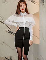 cheap -Women's Blouse - Solid Color, Pleated Skirt Shirt Collar