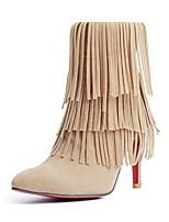 abordables -Mujer Zapatos Semicuero Invierno Botas de Moda Botas Tacón Stiletto Dedo Puntiagudo Mitad de Gemelo Borla para Casual Negro Beige Rojo